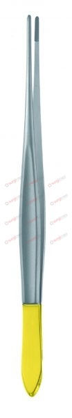 """CUSHING Dissecting Forceps with tungsten carbide inserts 18,5 cm, 7¼"""" 0,4 mm with dissector end curved"""