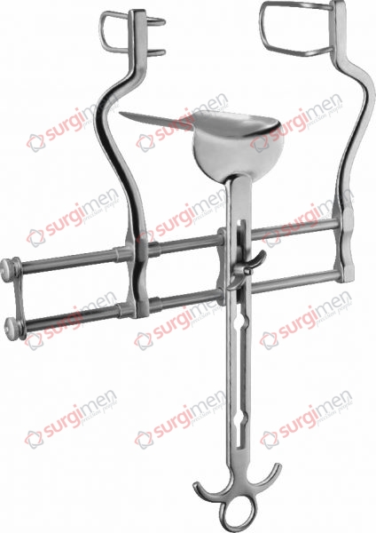BALFOUR Abdominal retractor, 180 mm, lateral valves 100 x 32 mm and 100 x 38 mm, with central valve 100 x 64 mm